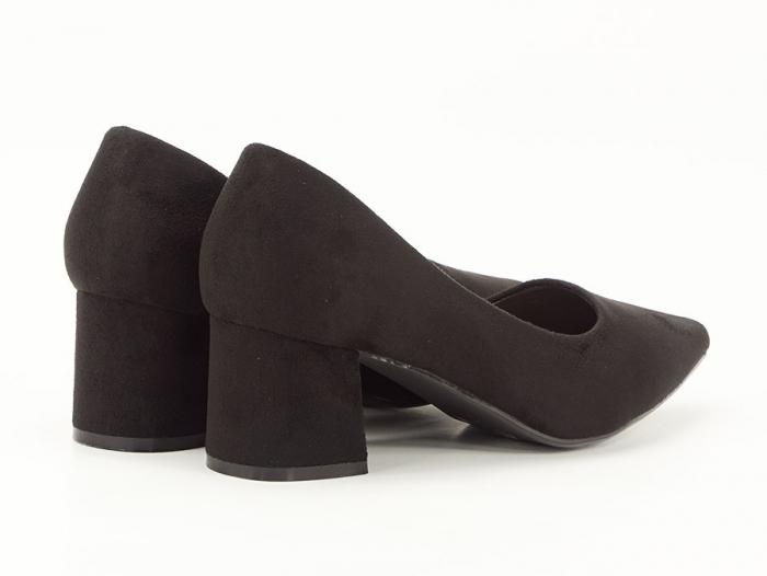 Pantofi negri din velur ecologic cu toc mic Cristina 2