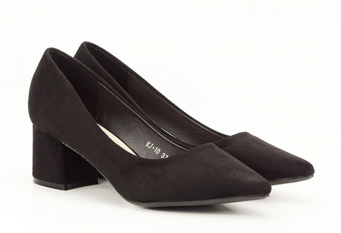 Pantofi negri din velur ecologic cu toc mic Cristina 1