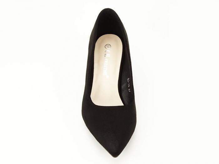 Pantofi negri din velur ecologic cu toc mic Cristina 4