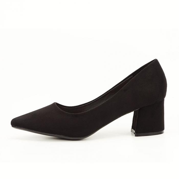 Pantofi negri din velur ecologic cu toc mic Cristina 0