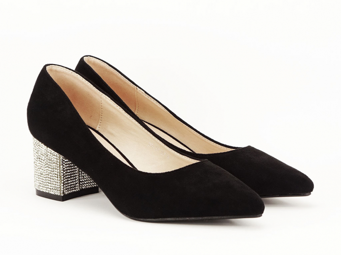 Pantofi negri cu toc mic Ioana 1
