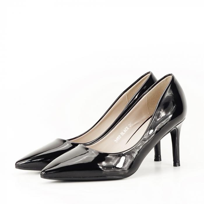 Pantofi cu toc negri de lac Alma 1