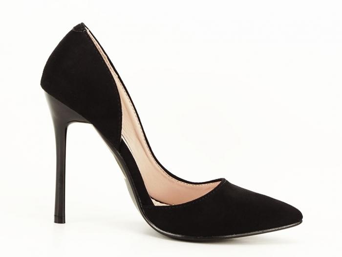 Pantofi stiletto negri decupati lateral Aniston 2