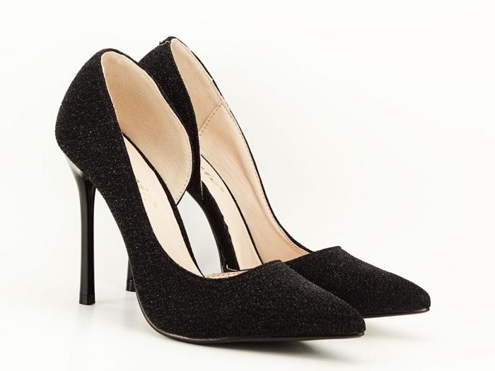 Pantofi dama negri stiletto decupati lateral Dream 5