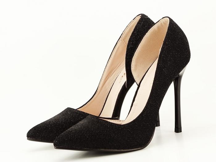 Pantofi dama negri stiletto decupati lateral Dream 0