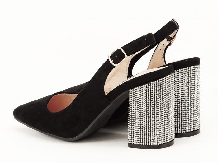 Pantofi negri decupati cu toc gros Perla 1