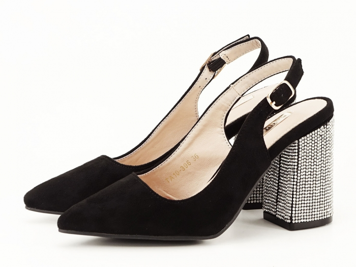 Pantofi negri decupati cu toc gros Perla 2