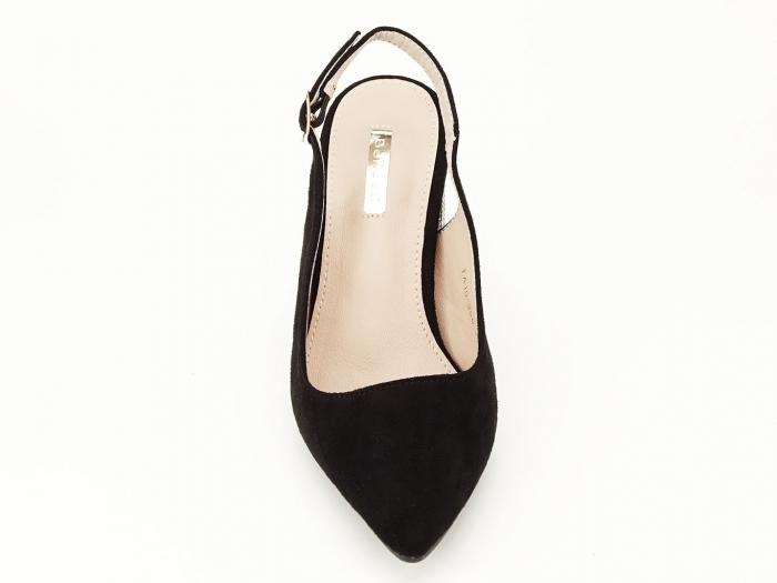 Pantofi negri decupati cu toc gros Perla 4
