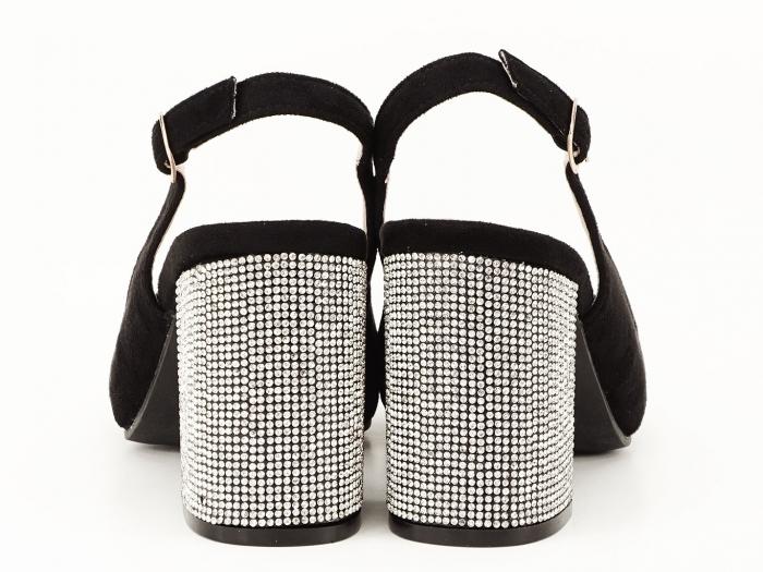 Pantofi negri decupati cu toc gros Perla 3