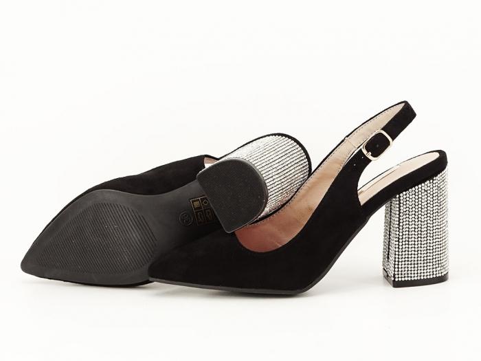 Pantofi negri decupati cu toc gros Perla 6