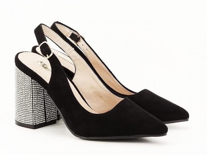 Pantofi negri decupati cu toc gros Perla 5