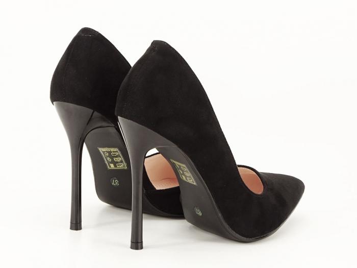 Pantofi stiletto negri decupati lateral Aniston 6