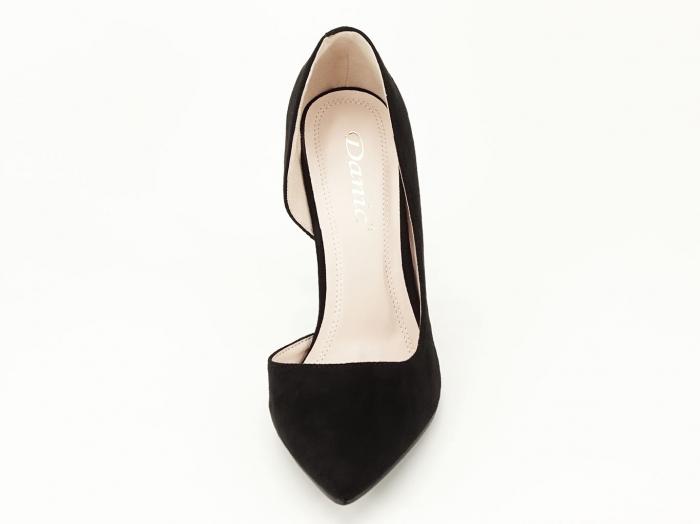 Pantofi stiletto negri decupati lateral Aniston 5