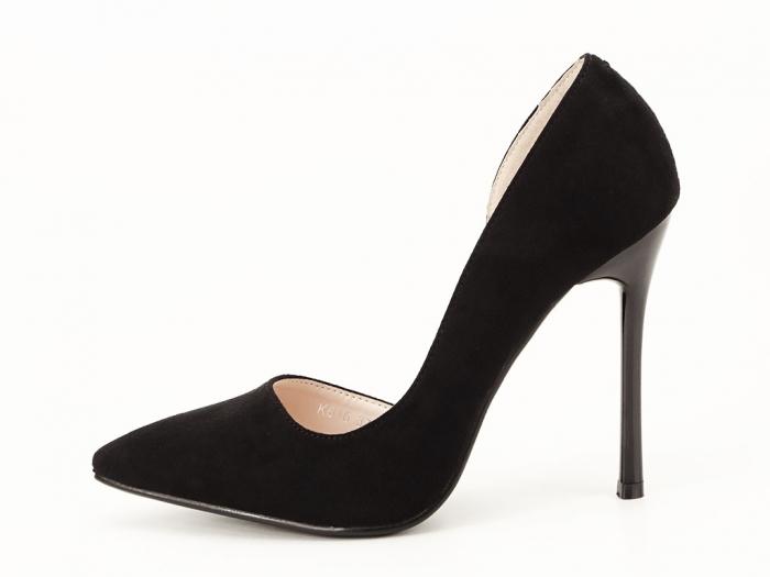 Pantofi stiletto negri decupati lateral Aniston 1