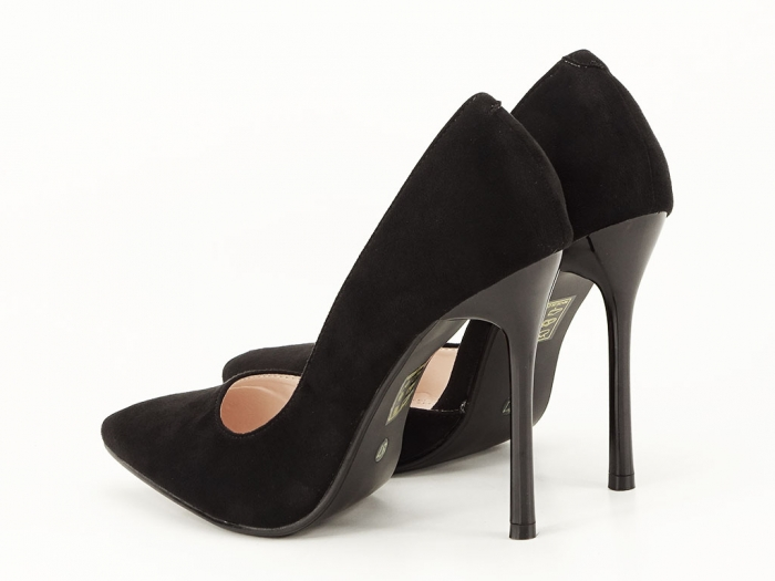 Pantofi stiletto negri decupati lateral Aniston 7
