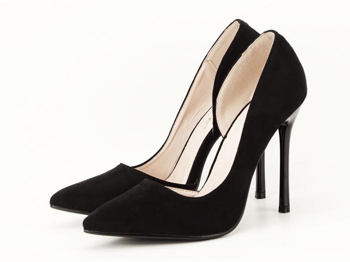Pantofi stiletto negri decupati lateral Aniston 0