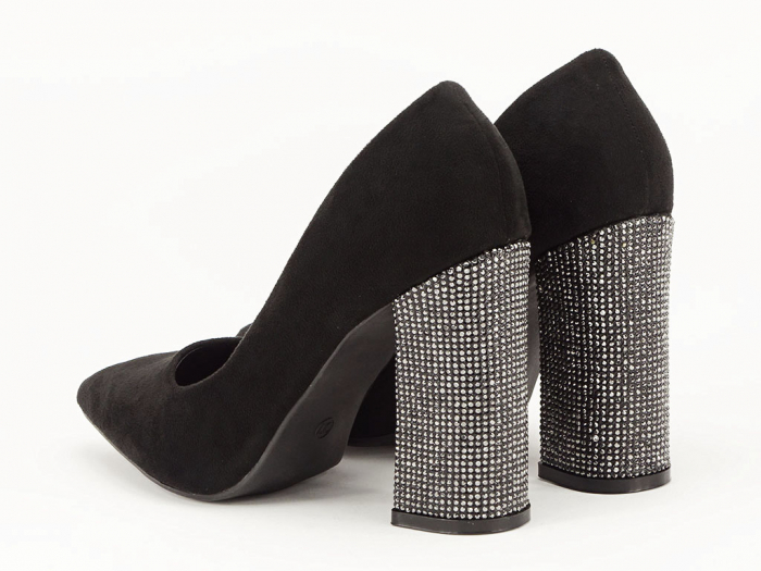 Pantofi negri eleganti cu toc gros Alina 4