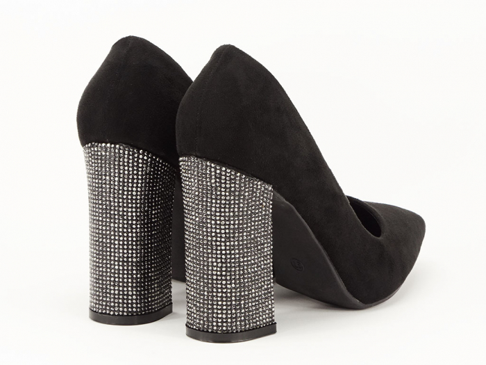 Pantofi negri eleganti cu toc gros Alina 2