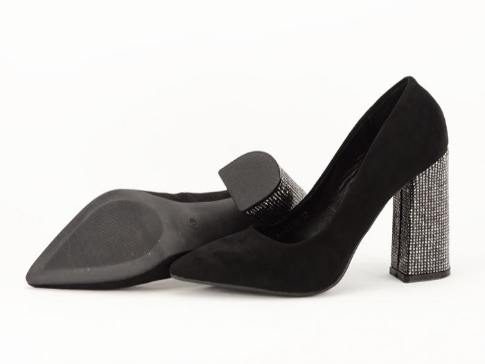 Pantofi negri eleganti cu toc gros Alina 6