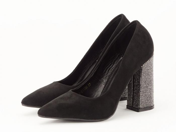 Pantofi negri eleganti cu toc gros Alina 1