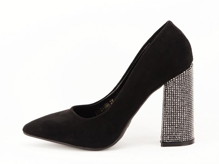 Pantofi negri eleganti cu toc gros Alina 0