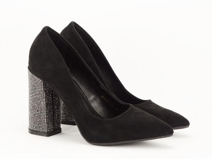 Pantofi negri eleganti cu toc gros Alina 5