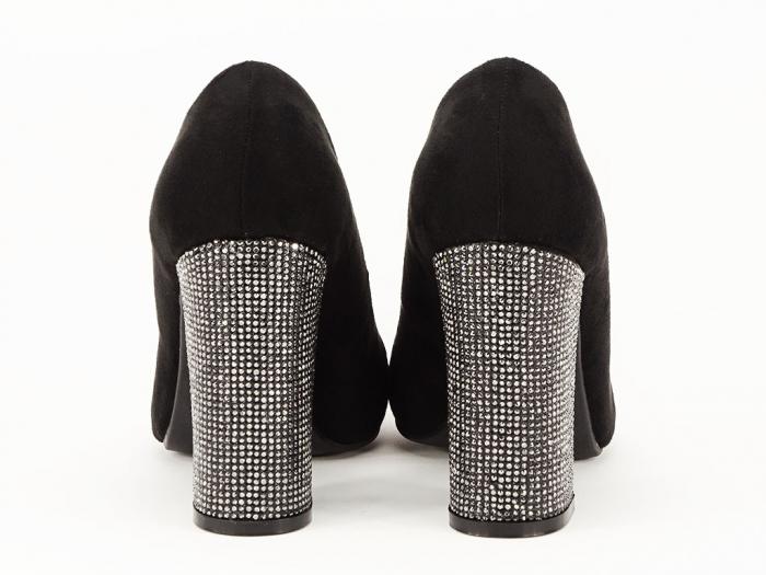 Pantofi negri eleganti cu toc gros Alina 3