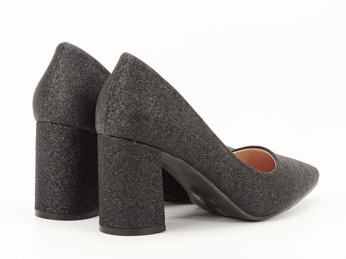 Pantofi negri eleganti cu toc gros Cerise 4