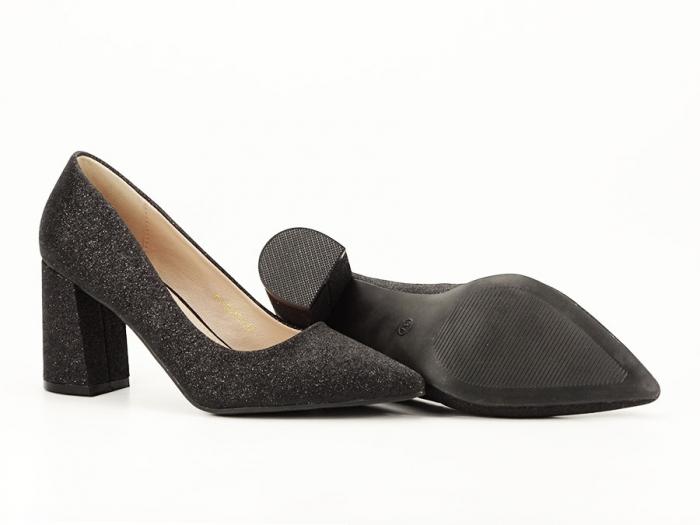 Pantofi negri eleganti cu toc gros Cerise 6