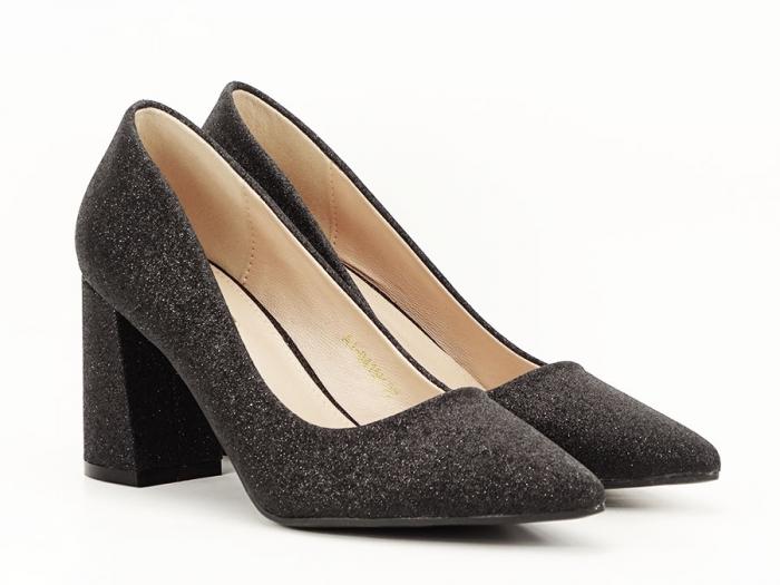 Pantofi negri eleganti cu toc gros Cerise 1