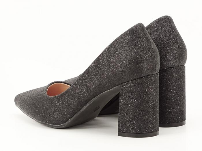 Pantofi negri eleganti cu toc gros Cerise 2