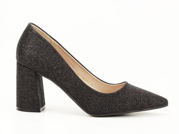 Pantofi negri eleganti cu toc gros Cerise 0