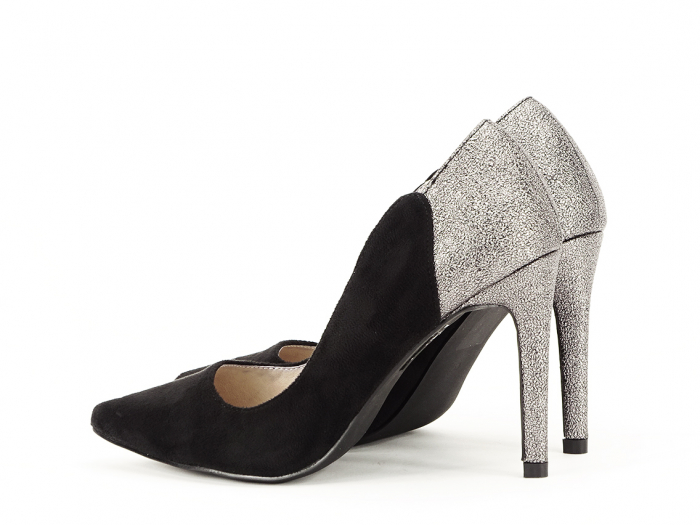 Pantofi eleganti din velur ecologic si talpic piele naturala Moon 1