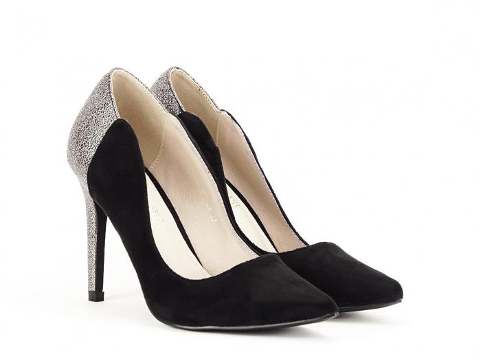 Pantofi eleganti din velur ecologic si talpic piele naturala Moon 3