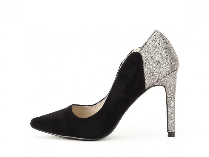 Pantofi eleganti din velur ecologic si talpic piele naturala Moon 0
