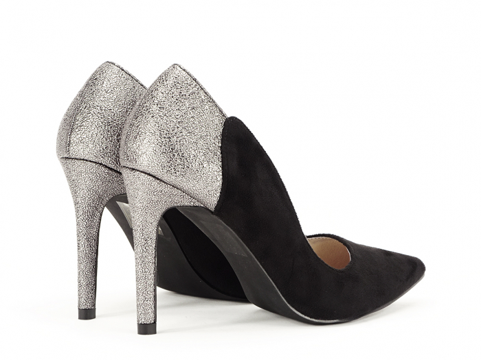 Pantofi eleganti din velur ecologic si talpic piele naturala Moon 6