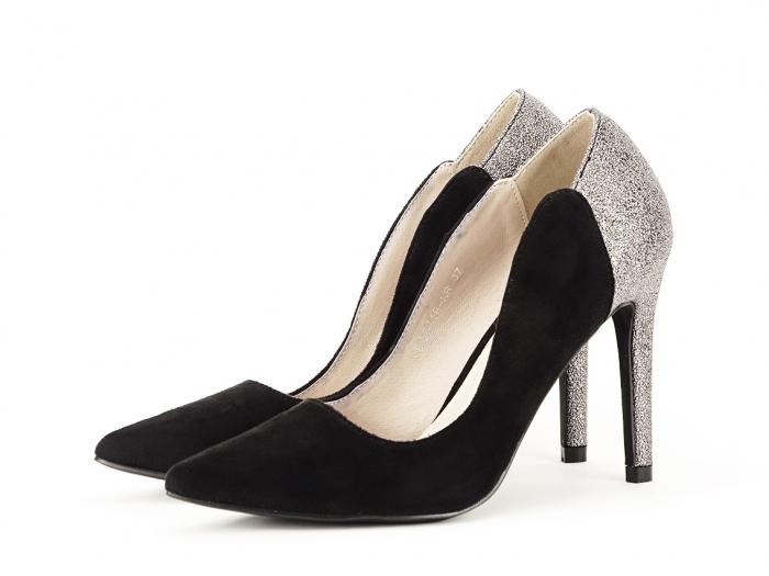 Pantofi eleganti din velur ecologic si talpic piele naturala Moon 7