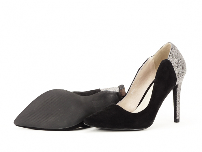 Pantofi eleganti din velur ecologic si talpic piele naturala Moon 4