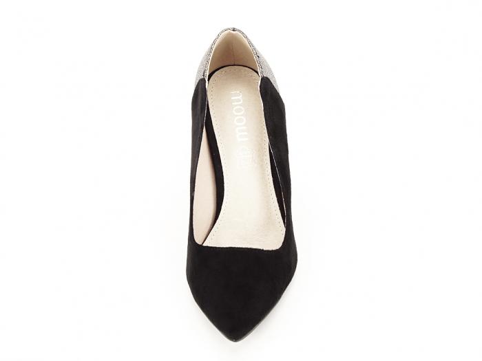 Pantofi eleganti din velur ecologic si talpic piele naturala Moon 5