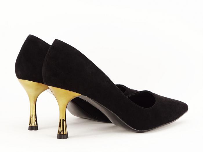 Pantofi negri eleganti cu toc mediu Victoria 4