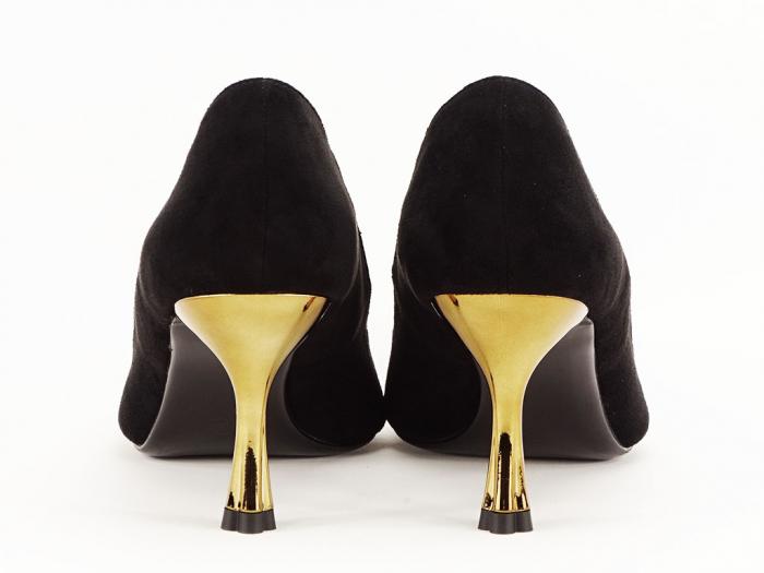 Pantofi negri eleganti cu toc mediu Victoria 5