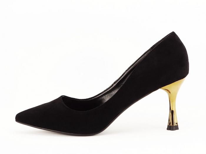 Pantofi negri eleganti cu toc mediu Victoria 0