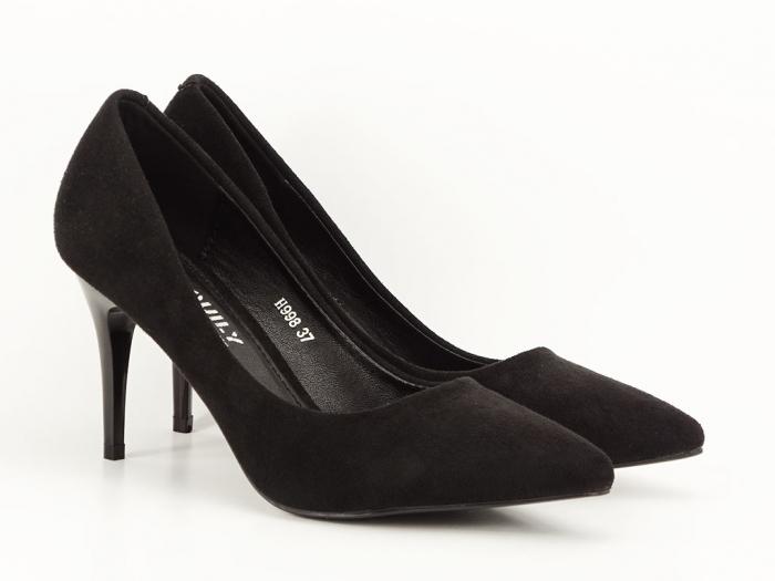 Pantofi negri sidefati din velur Freya 3
