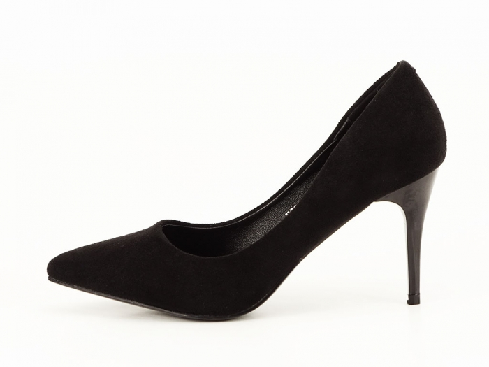 Pantofi negri sidefati din velur Freya 0