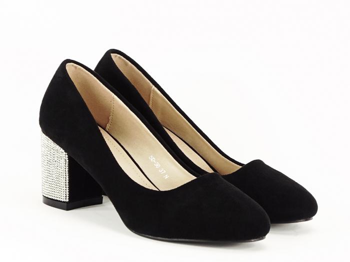 Pantofi negri eleganti cu toc comod Brenda [4]