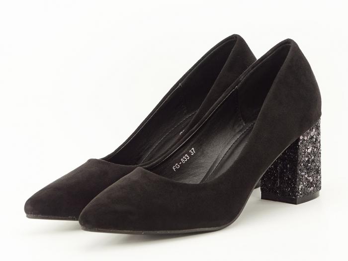 Pantofi negri cu sclipici pe toc Lari 2