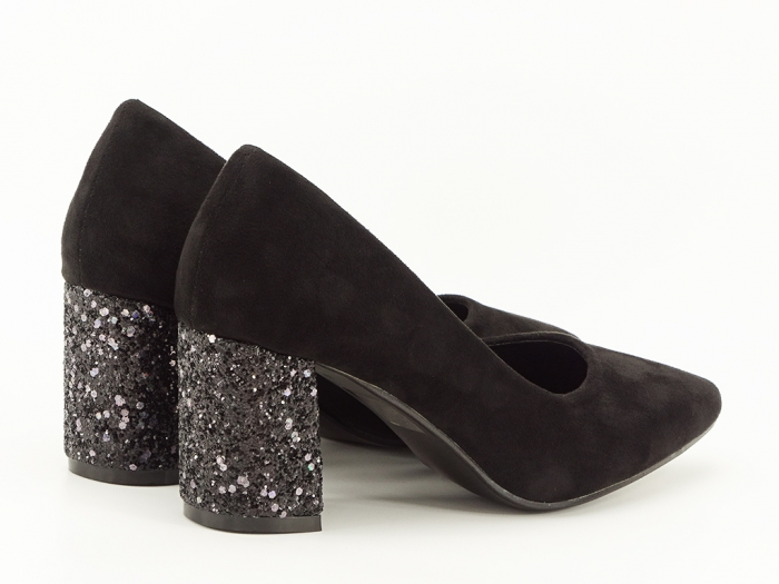 Pantofi negri cu sclipici pe toc Lari 5