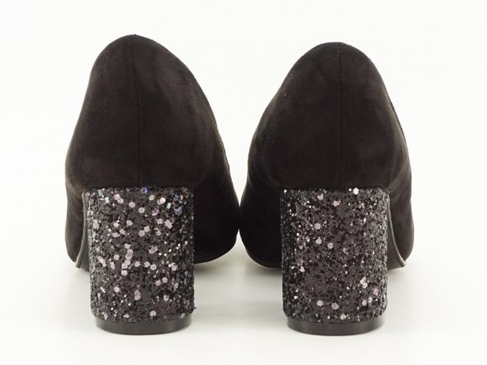Pantofi negri cu sclipici pe toc Lari 6