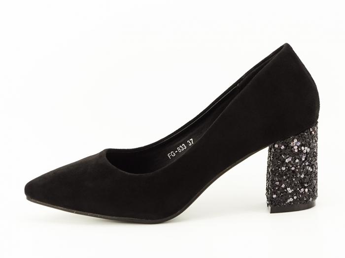 Pantofi negri cu sclipici pe toc Lari 0