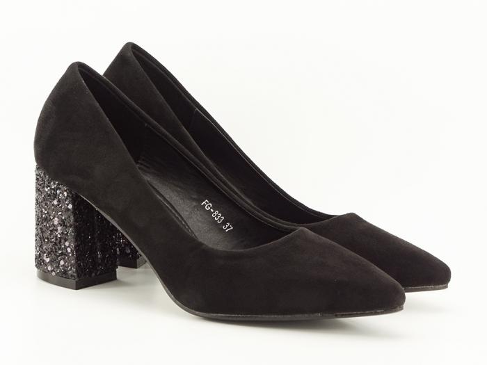 Pantofi negri cu sclipici pe toc Lari 4